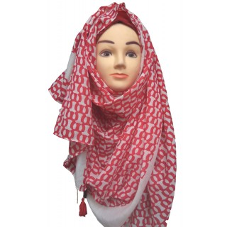 Red Color printed Hijab- Cotton Fabric